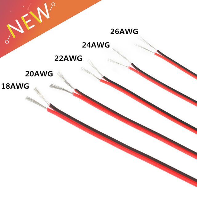 26 Gauge Wire >> Us 1 42 40 Off 10m Electrical Wire Tinned Copper 2 Pin 20 22 24 26 Gauge Awg Insulated Pvc Extension Led Strip Cable Wire Electric Extend Cord In