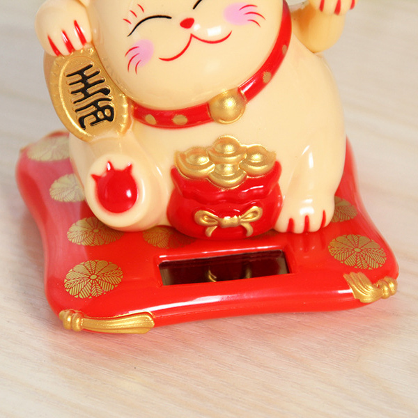 Novel Waving Hands Lucky Cat Wealth Fortune Cat Ornament for Home Office Checkout Counter Decor Shipping
