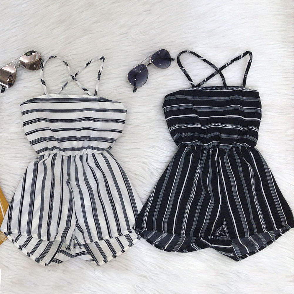 Summer Toddler Baby Kid Girl Off Shoulder Suspender Pants Stripe Romper Jumpsuit Playsuit 1 7Yrs Outfit in Clothing Sets from Mother Kids