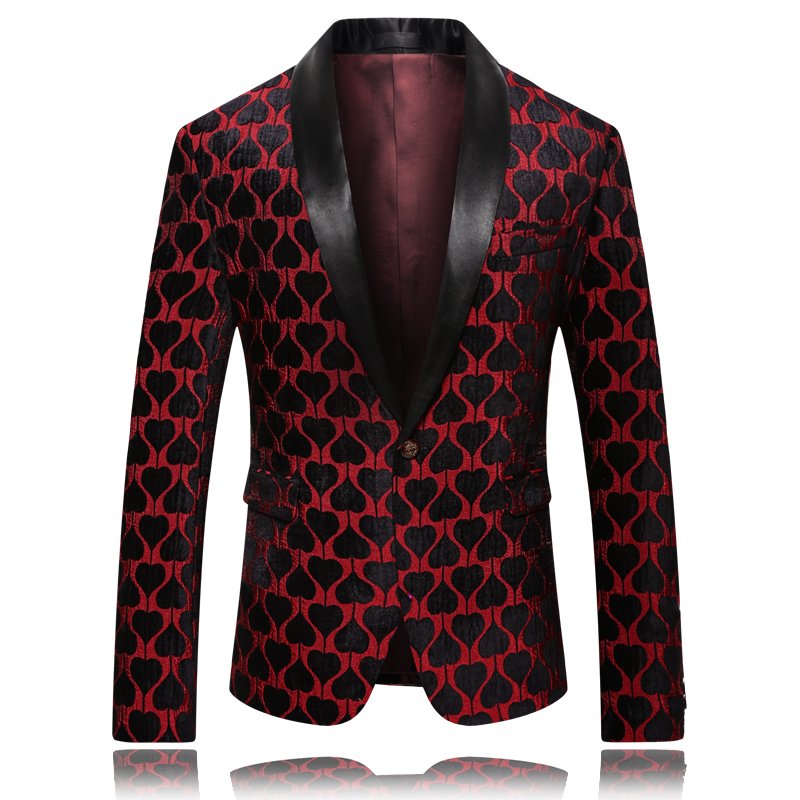 Quality Men New Pattern Blazer Jacket One Buttons Long Sleeve Spring Blazer Men Casual Costume Homme Slim Fit Suit Men Red Black
