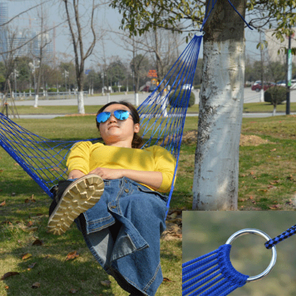 Outdoor Sport Hammock Net Mesh Bed Nylon Portable Camping Hammock with Hooks for Garden Beach Yard Travel kids playdround games