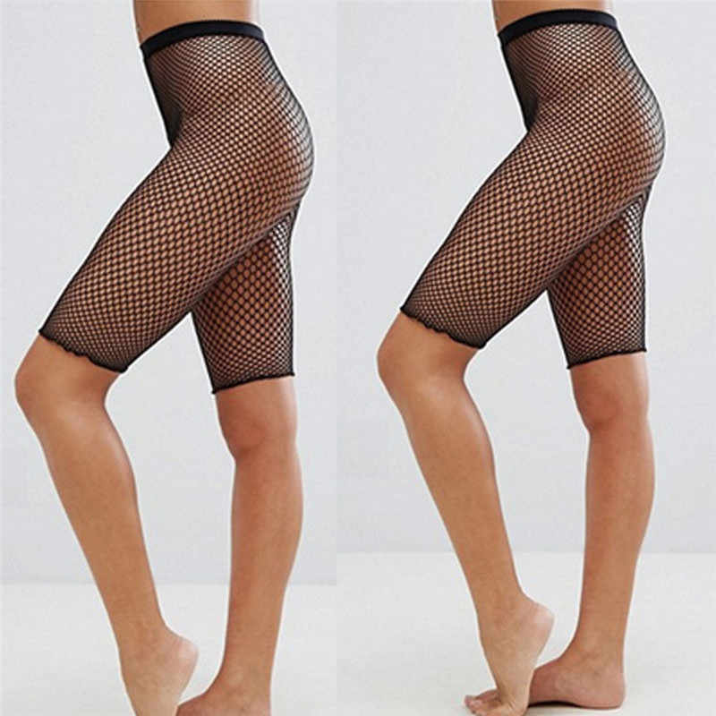 Kobiety Sexy sportowy kabaretki legginsy z siatką spodenki rowerowe najnowsze spodnie czarne pończochy drążą przepuszczalność wysokiej talii krótkie Clubwear