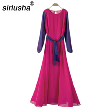 Siriusha82 Super Long Type A Dress Female Summer Slim Waist Long Design O-Neck Long-Sleeve Chiffon One-Piece Dres a petit coclico carmen super o vos omnes