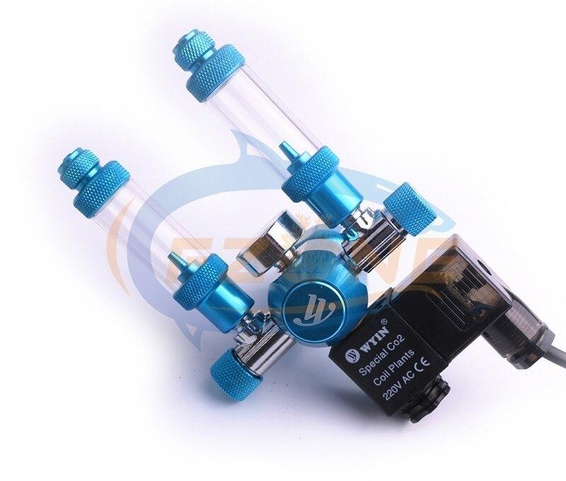 Chihiros acuario Wyin doble salida calibre CO2 regulador con válvula de contador de burbujas de válvula de solenoide y Kits de instalación - 2
