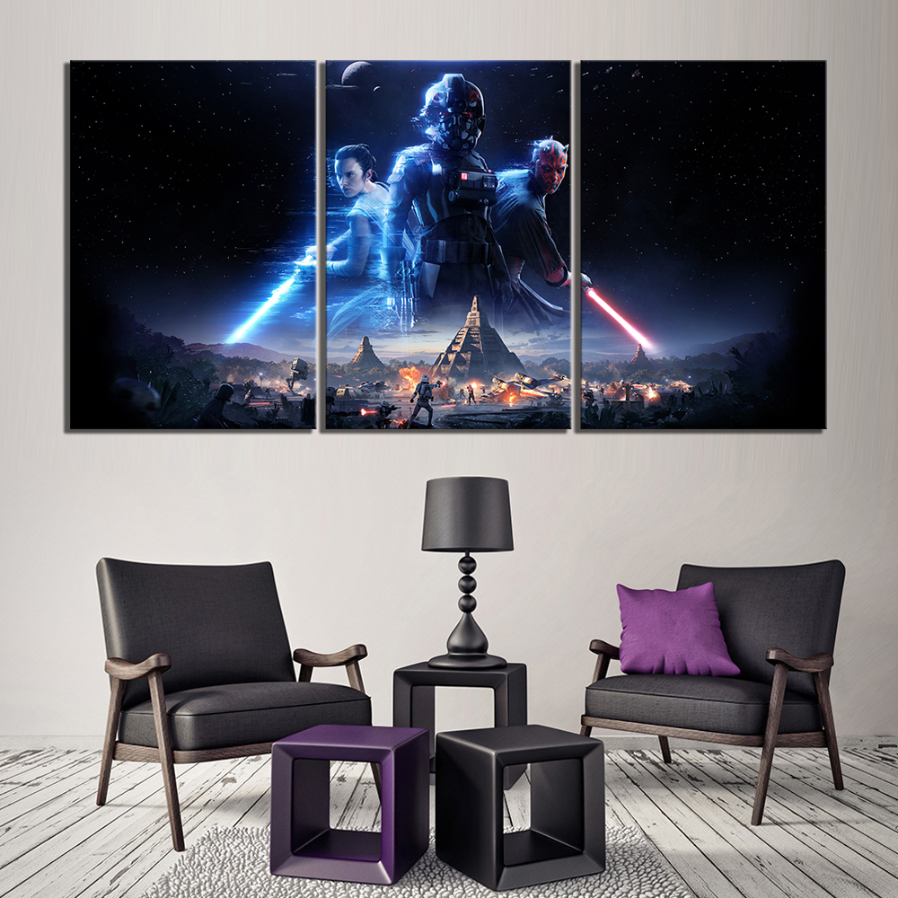 3 Piece Science Fiction Movie Poster Star Wars Battlefront Pictures Fantasy Art Canvas Paintings Wall Art for Home Decor image