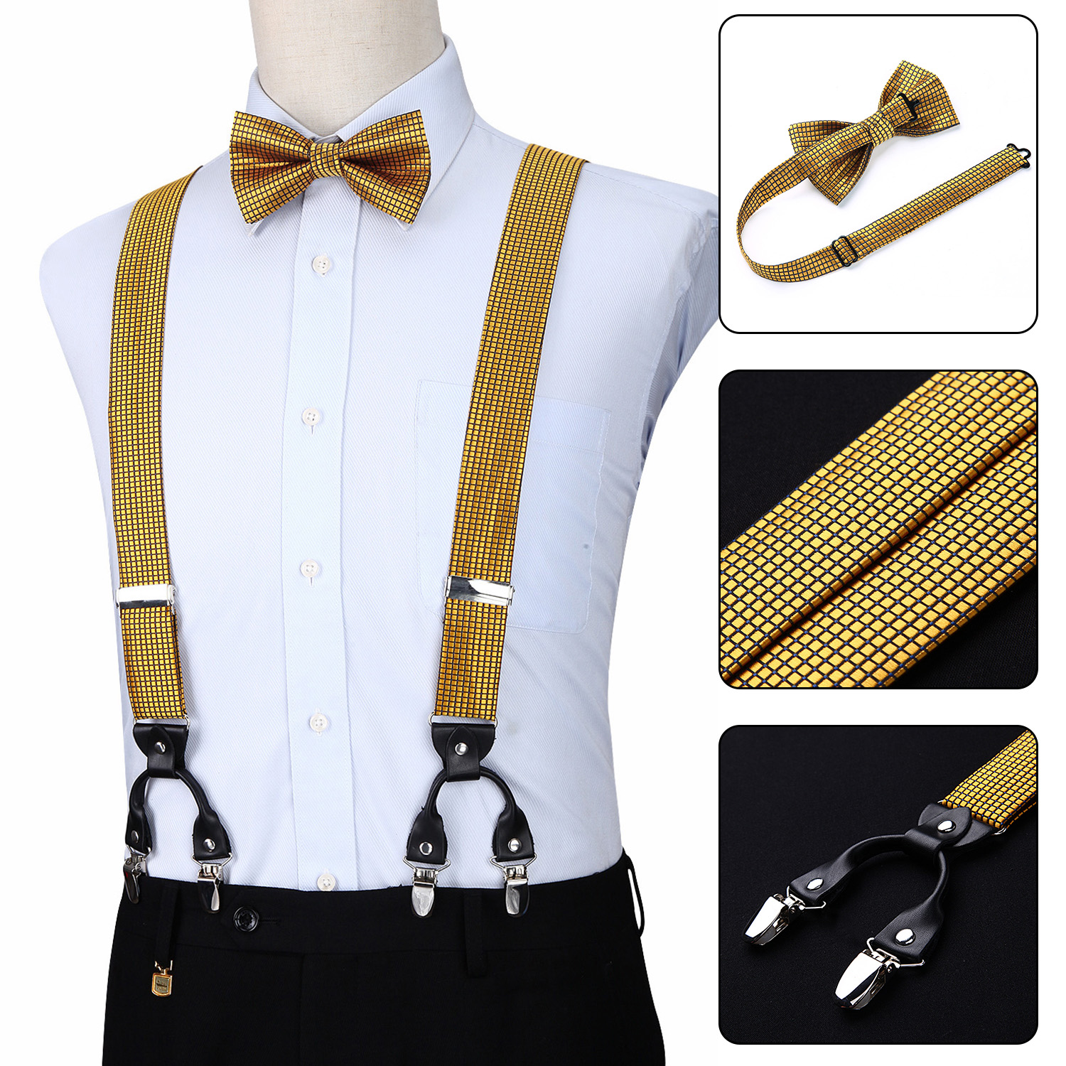 Men Suspenders Party Wedding Checks Sold Fashion Various 6 Clips Pre-Tied Bowtie Pocket Square Set Adjustable Braces S05