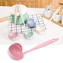 Мода-2 в 1 горячий горшок столовая посуда каша суповая ложка с фильтром шумовка кухонная посуда длинная ручка дуршлаг розовый