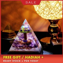 AURA REIKI Tree Of Life Orgonite Large Pyramid Improves Overtime And Night Decorations Absorbs Dirty Qi Chakra Crystal Gift