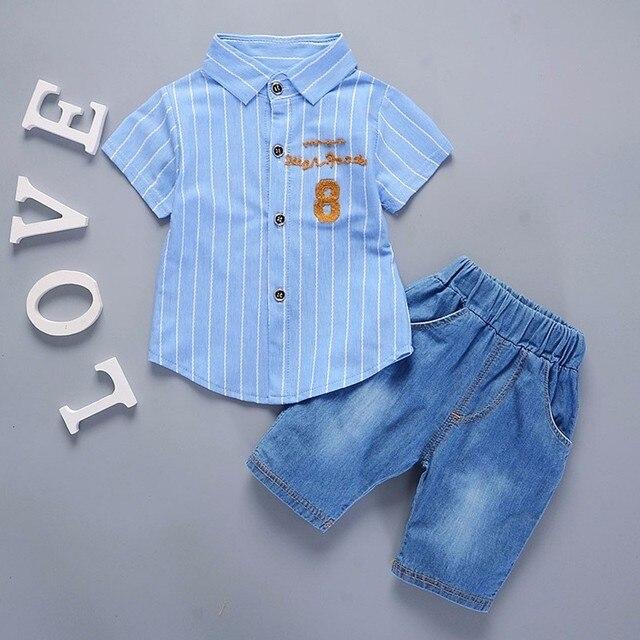 חדש חם קיץ תינוק בני בנות בגדי תינוקות מקרית חליפות חולצה מכנסיים קצרים 2 יחידות\סט אדון סגנון ילדים דש ילדי אימונית