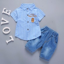 New Hot Summer Baby Boys Girls Clothes Infant Casual Suits Shirt Shorts 2Pcs/Sets Gentleman Style Kids Lapel Children Tracksuit summer baby girls cloth sets polka dot print sleeveless tops shirt casual bow tie shorts suits 2pcs hot