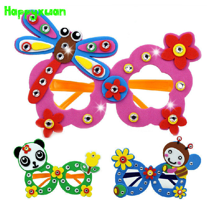 Happyxuan 4pcs/lot Cartoon Eva Foam Sticker Glasses DIY Craft Kit Creative Kindergarten Educational Toys For Kids Birthday Party