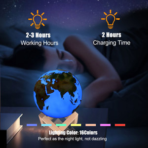 Image 3 - 3D Geschilderd Aarde Lamp Kleurrijke Maan Lamp Jupiter Lamp Oplaadbare Change Touch Usb Led Night Light Home Decor Creative Gift da