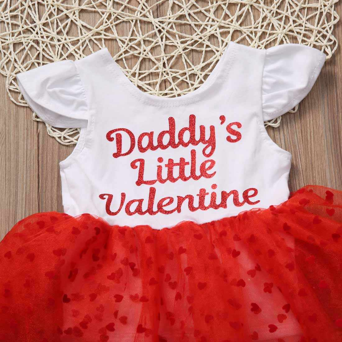 1f4aaa9f2 ... Lovely Infant Baby Girls Daddy's Little Valentine Dresses Heart Tulle  Gown Party Tutu Cake Romper Dress ...