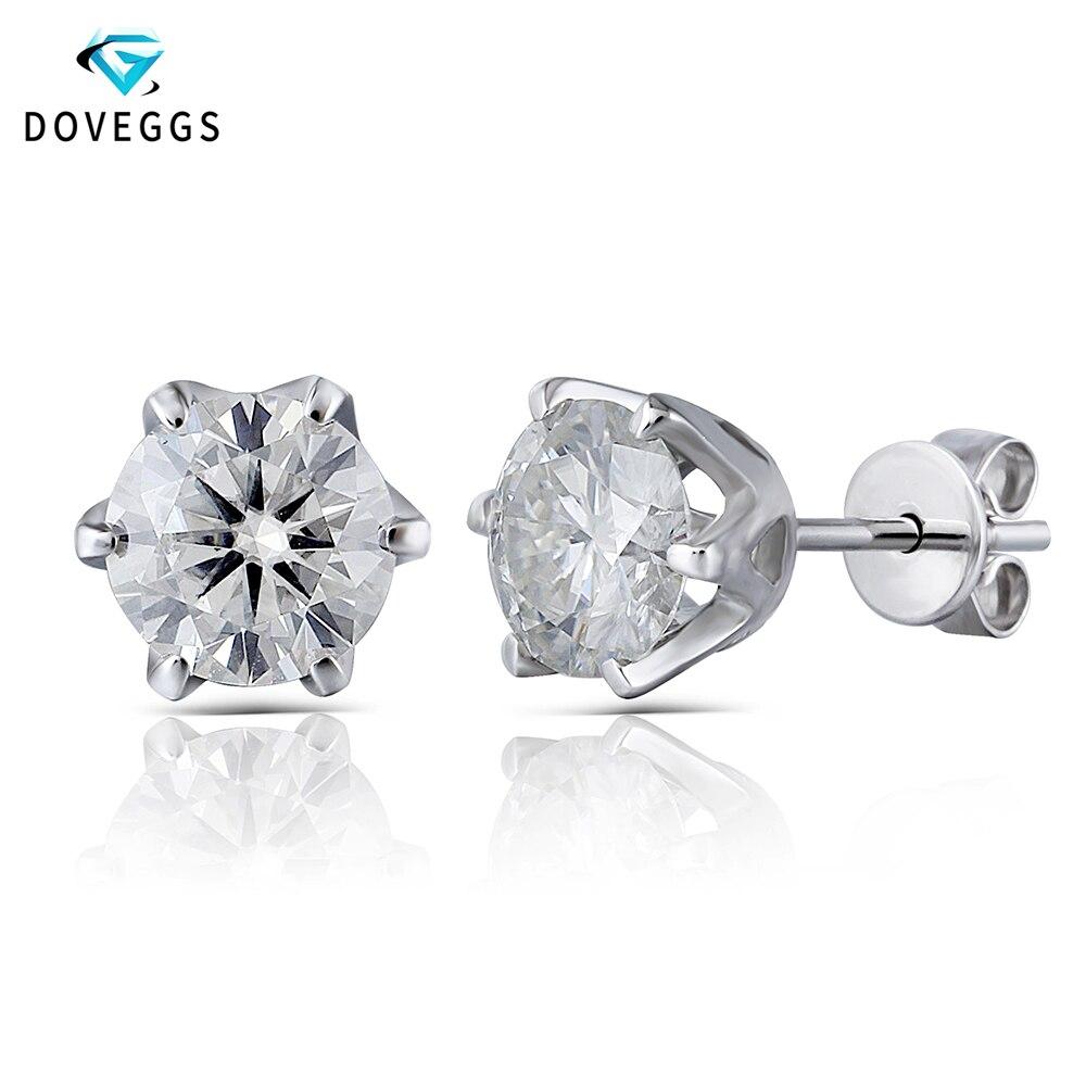 DovEggs 14K 585 White Gold 2ctw 6 5mm FG Color 8 Heart Arrows Cut Moissanite Diamond Stud Earring For Women Earrings Push Back in Earrings from Jewelry Accessories