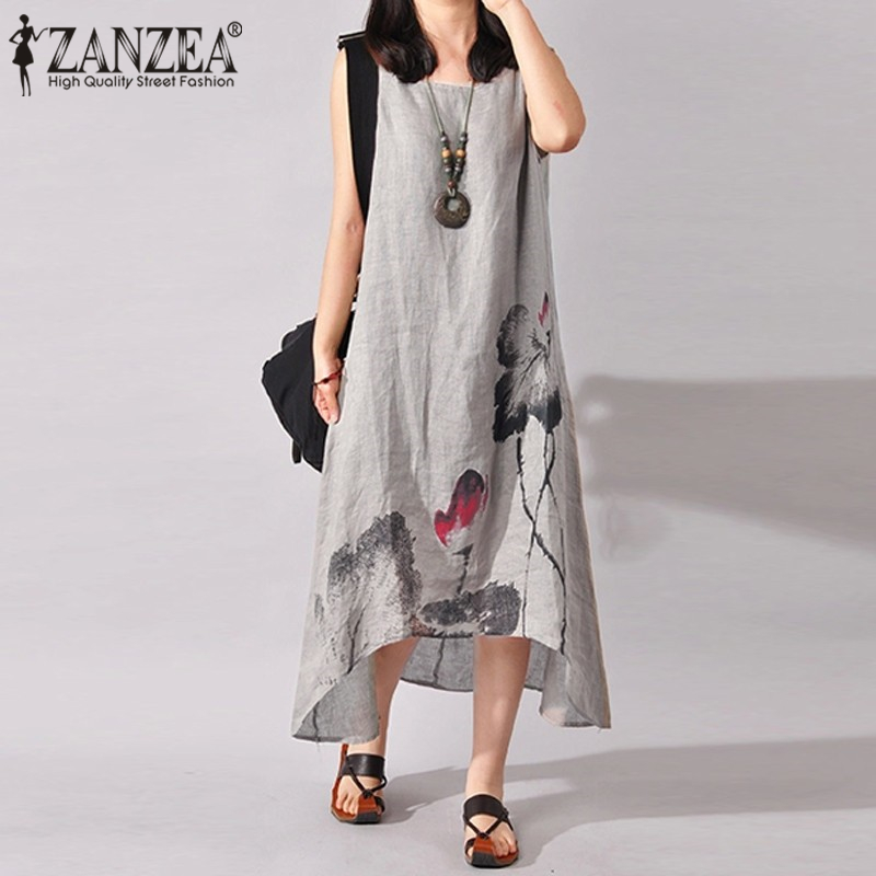 Plus Size S-5XL ZANZEA Summer Women Vintage Ink Painting Sleeveless Cotton Linen Dress Loose Casual Midi-Calf Dress Vestidos