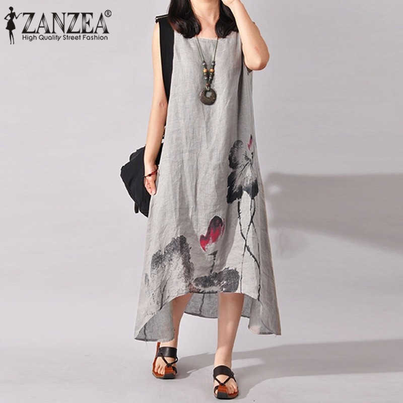 ZANZEA Linen Dress Women Summer Dresses Sleeveless Ink Painting Cotton Vestidos Ladies Mid Calf Vestido Womens Plus Size Dresses