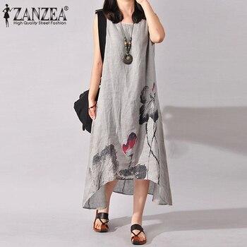 ZANZEA Linen Dress Women Summer Dresses Sleeveless Ink Painting Cotton Vestidos Ladies Mid Calf Vestido Womens Plus Size Dresses футболка lost ink plus lost ink plus lo035ewzcu38
