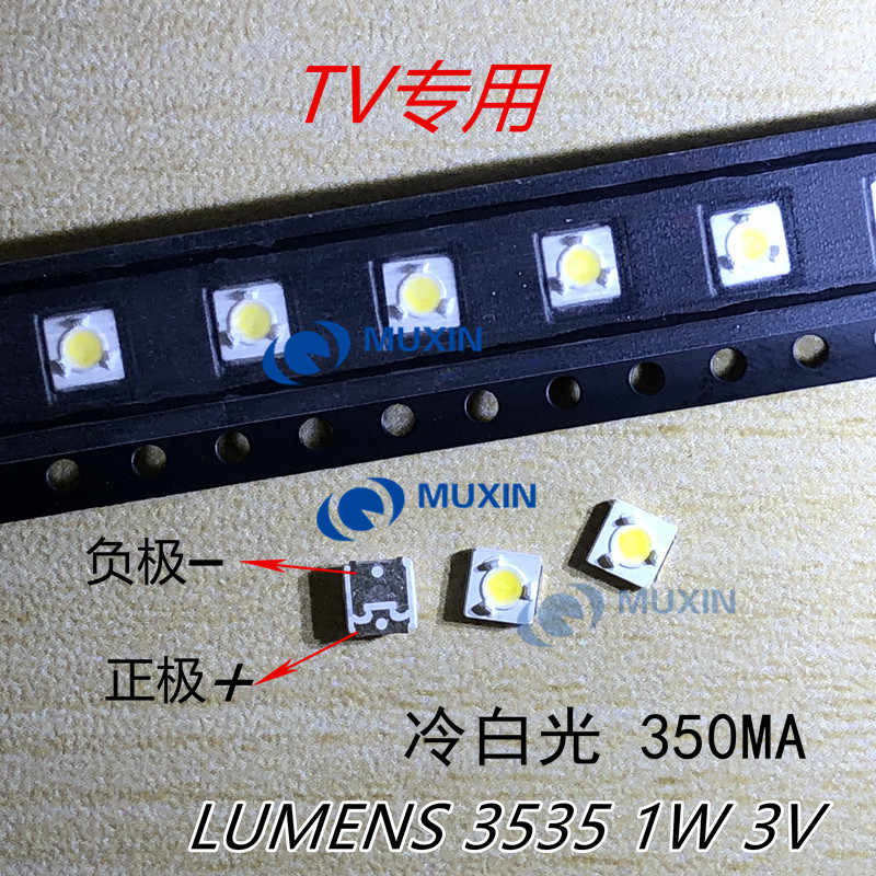 100 Pcs Lumen SMD LED 3535 3537 3V 1W COOL Putih untuk TV Backlight Lampu Manik-manik A127CECEBUP8C-6078 3D