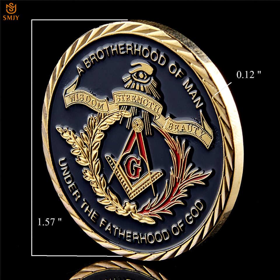 Euro Vrijmetselaars Vereniging Onder Een Broederschap Van Man De Fatherhood Van God Vergulde Token Uitdaging Herdenkingsmunt