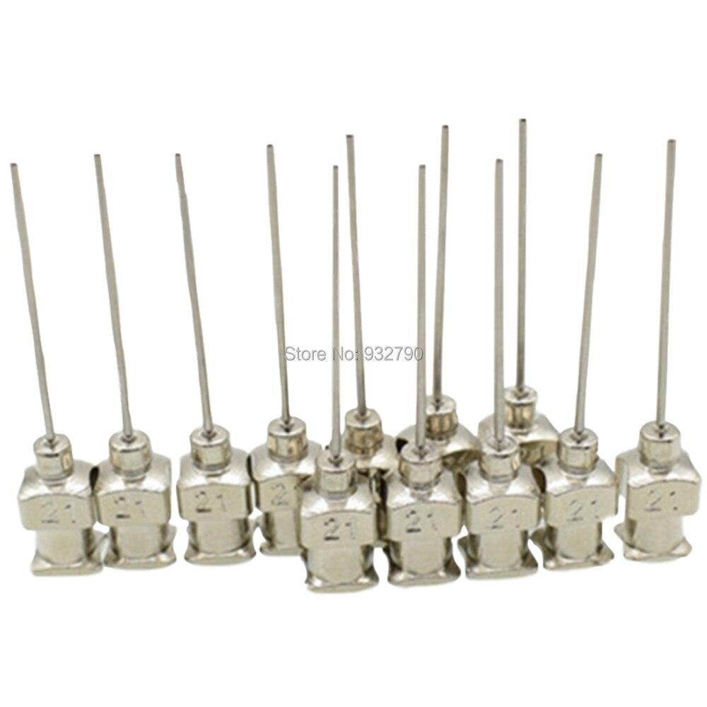 12-Pack 21G Dispensing Needle Stainless Steel 21 Gauge Adhesive Glue Mixer Needle 0.51mm Tip Needles Length 37mm Dispenser Tips