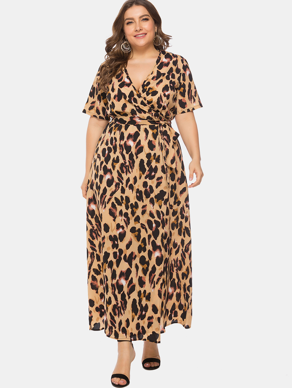 US $14.38 50% OFF|Wipalo Women Plus Size 6XL Leopard Print Wrap Maxi Dress  V Neck Short Sleeves Ankle Length Casual Dress 2019 Summer Vestidos-in ...