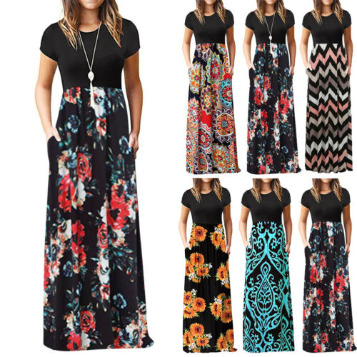 Vintage Floral Print Boho Dress Women Long Maxi Dress Evening Party Beach Summer Dress Vestidos Short Sleeve Split Dresses