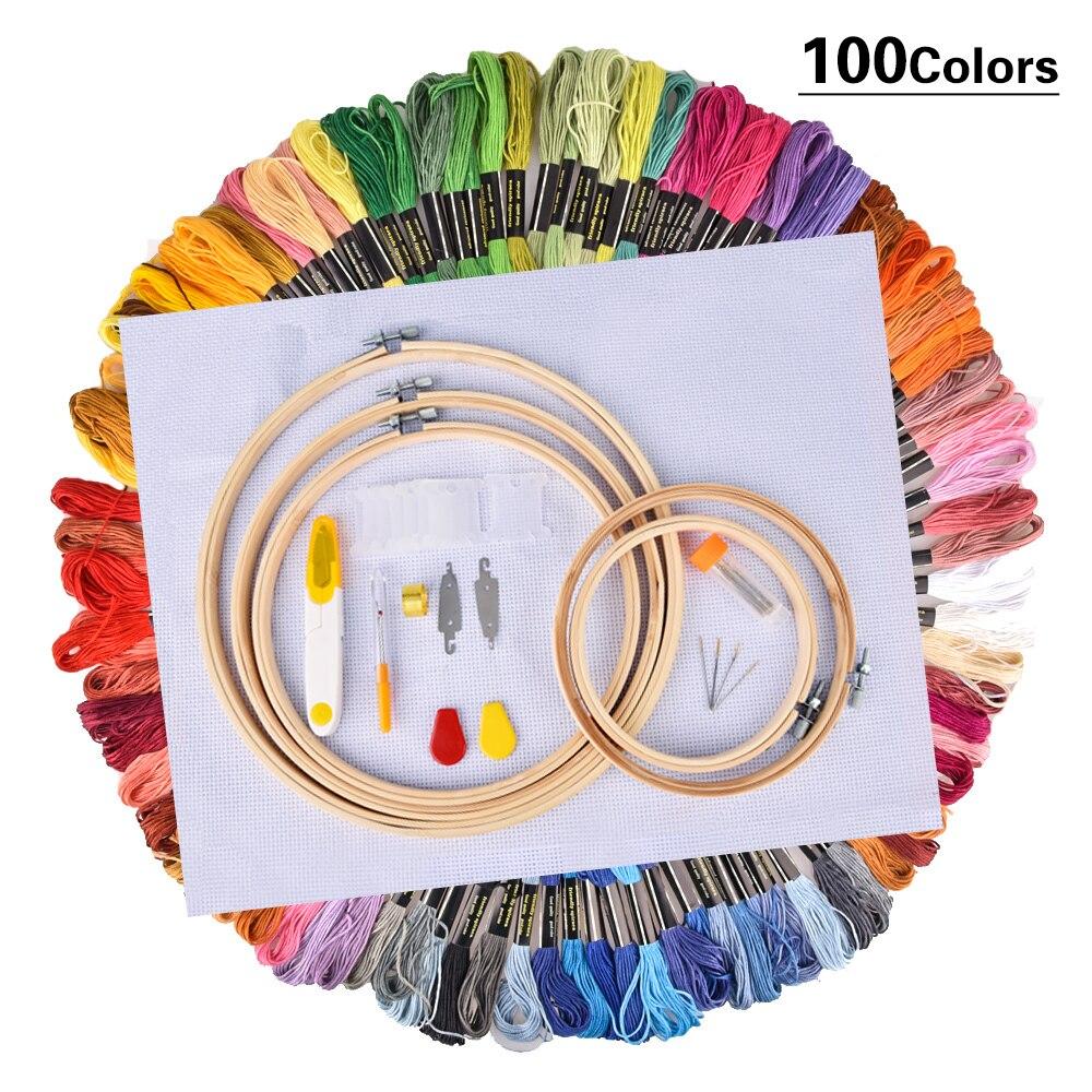 50/100 Kleur Strengen Borduurgaren Cross Stitch Thread Hoop Kit Breien Craft Set Diy Naaien Accessoires Handwerk Handwerken