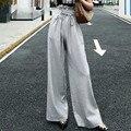 Tunic <font><b>Wide</b></font> <font><b>Leg</b></font> <font><b>Pants</b></font> Female High Waist Lace Up Maxi Trousers Large Size 2018 Summer Fashion Women <font><b>Pants</b></font> Fashion Q688