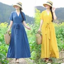 Ethnic Vintage Women Summer Cotton Linen V-neck Robe Maxi Dress Vestidos Boho Beach High Waist Loose Large Plus Size Dresses
