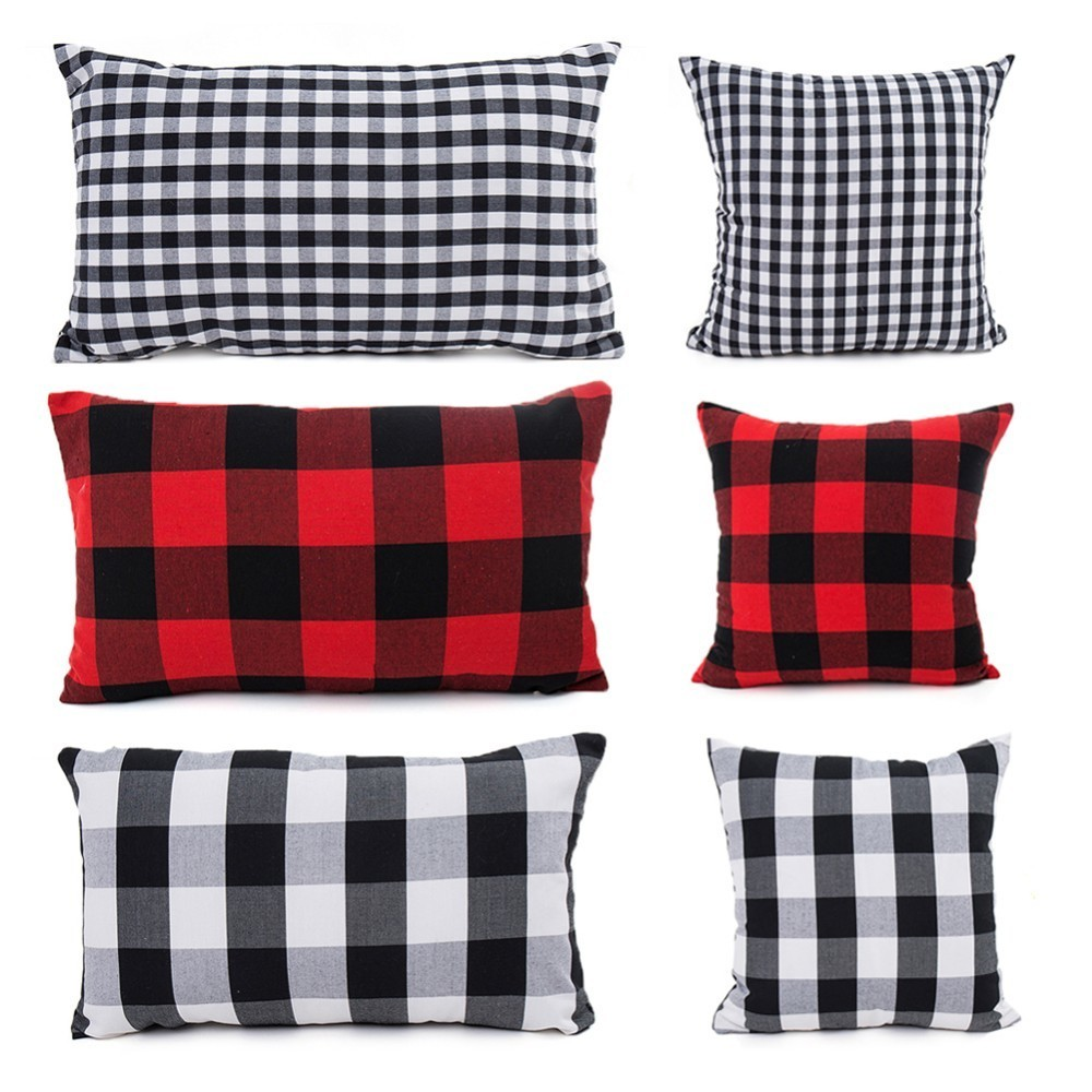 Red Black Cushion Cover Polyester Cotton Plaid Pillow Cases Square Rectangle Pillow Cover For Sofa Room Home Office Decoration