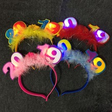 10PCS New Year Fashion Sparkling Cute Hair Hoop Flashing Creative Costume Headband Party Hairband Random Color Send