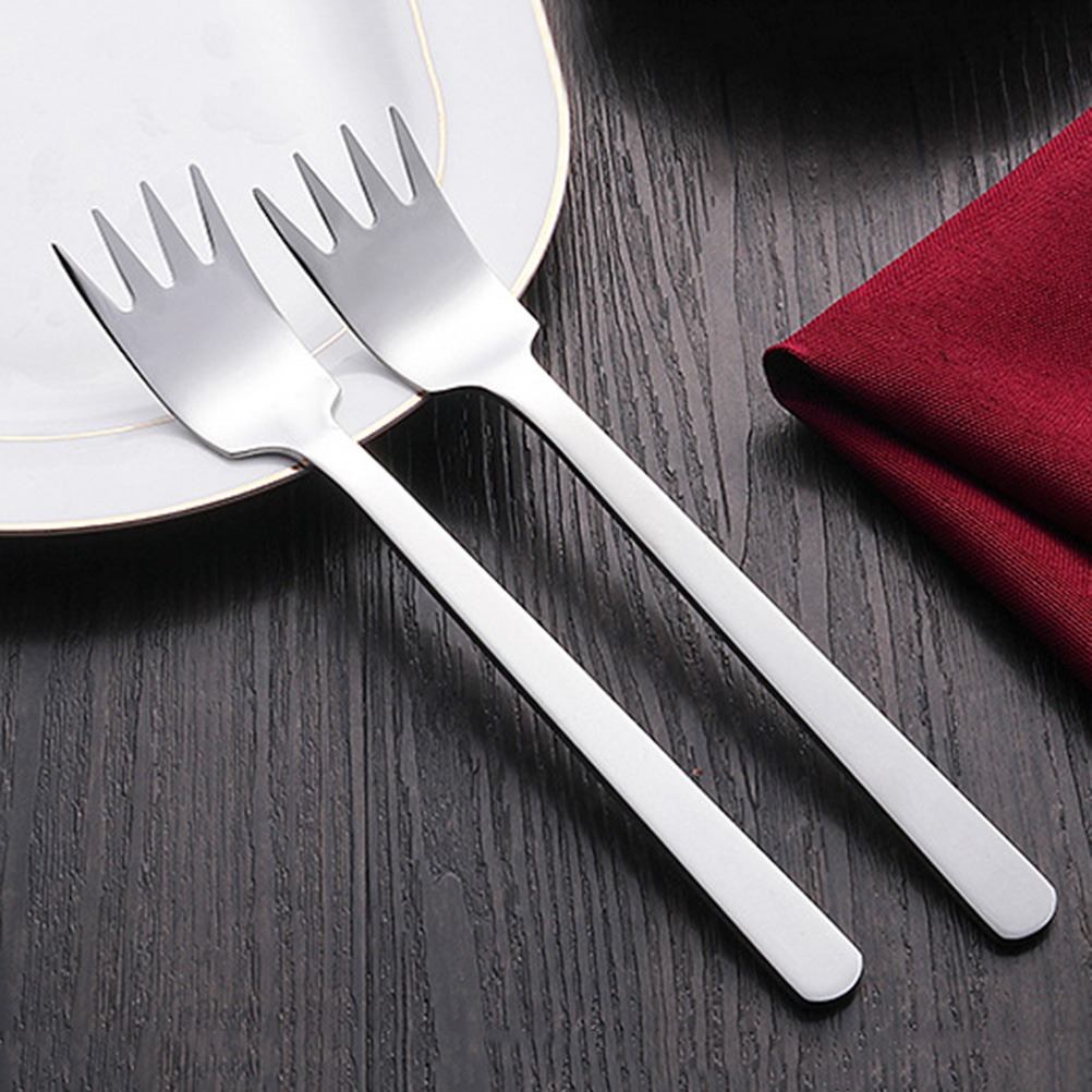 2 pcs Salad Fork Thicken Stainless Steel Durable Fruit Vegetable Picks Kitchen Flatware for Restaurant Party Home Buffet image