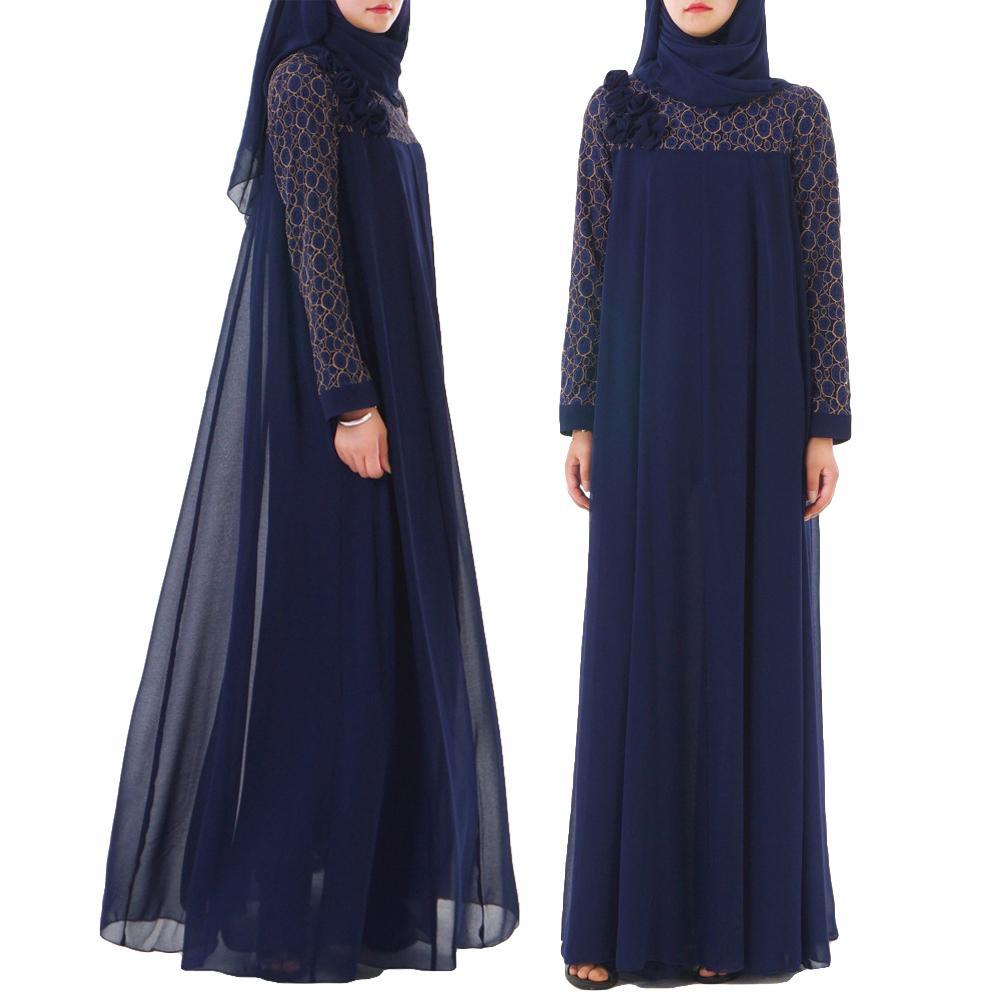 Femmes musulmanes longue Robe moyen-orient en mousseline de soie Patchwork Maxi Robe turquie vêtements islamiques fleur lâche Robe caftan robes arabes