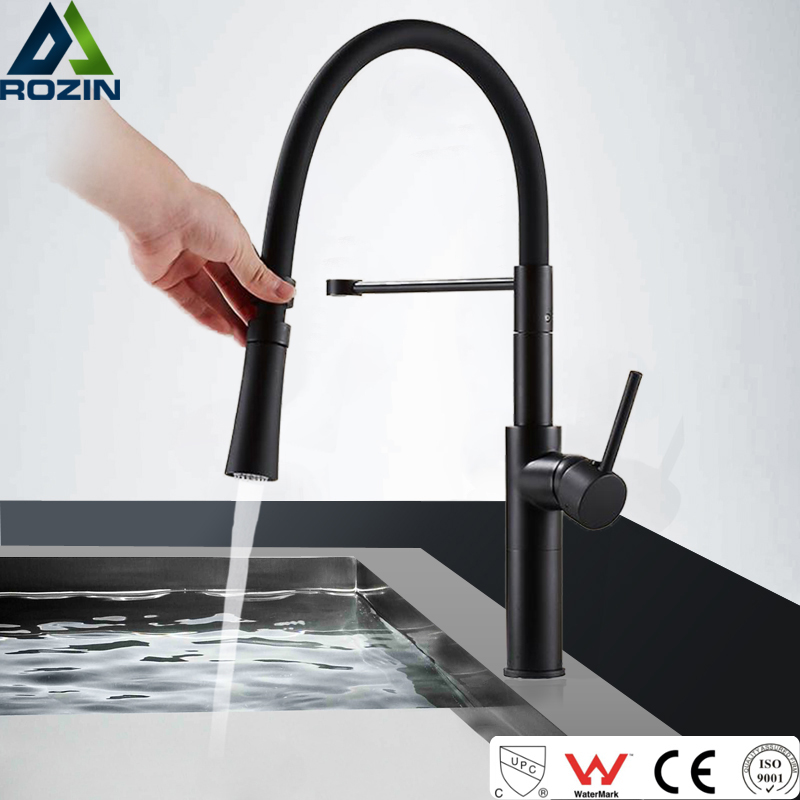 US $53.13 42% OFF|Matte Black Kitchen Faucet Single Lever Stream Sprayer  Kitchen Mixers with Bracket Deck Mounted Chrome White Hot Cold Water Tap-in  ...