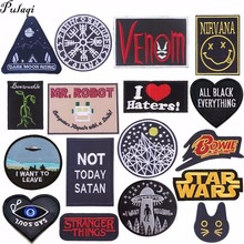 Pulaqi knights Vikings Biker Patches Sticker Sewing On Iron-on Embroidered Badge Jacket For Jeans Hat Punk Letter DIY H