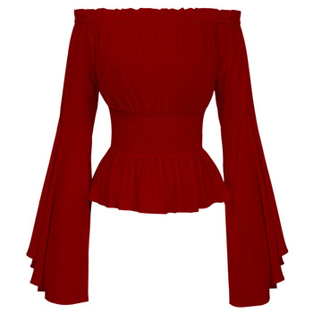 Elegant Women Sexy Long Flare Sleeve Blouse Camisas Mujer New Fashion Off Shoulder Vintage Shirt Corset Blouse Tops Femme Blusas sexy satin women blouse off shoulder pleated luxury blouse shirt solid sleeveless ruffle blouse fashion elegant party tops