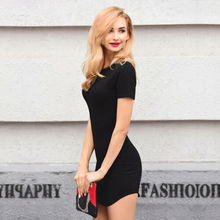 Summer Dresses HOT Women Simple O-Neck Short Sleeve Mini Dress Casual Solid High Waist Slim