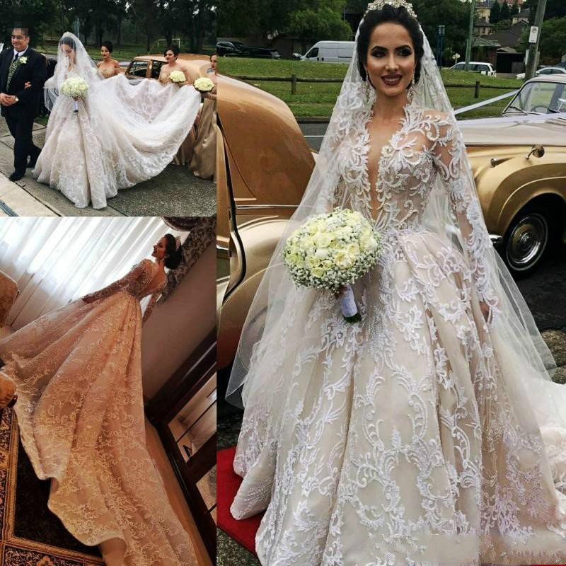 Gorgeous Lace Luxury Wedding Dresses 2020 Illusion Long Sleeves Deep V Neck Bridal Gowns Royal Cathedral Train Vestidos De Novia