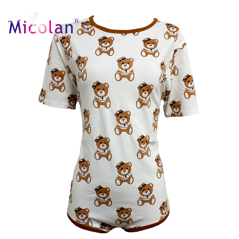 Brown Bear Cotton Adult Onesie Pajamas Abdl Romper ABDL Adult Baby Jumpsuit Diaper Lover And Sissy Adult Baby Onesie