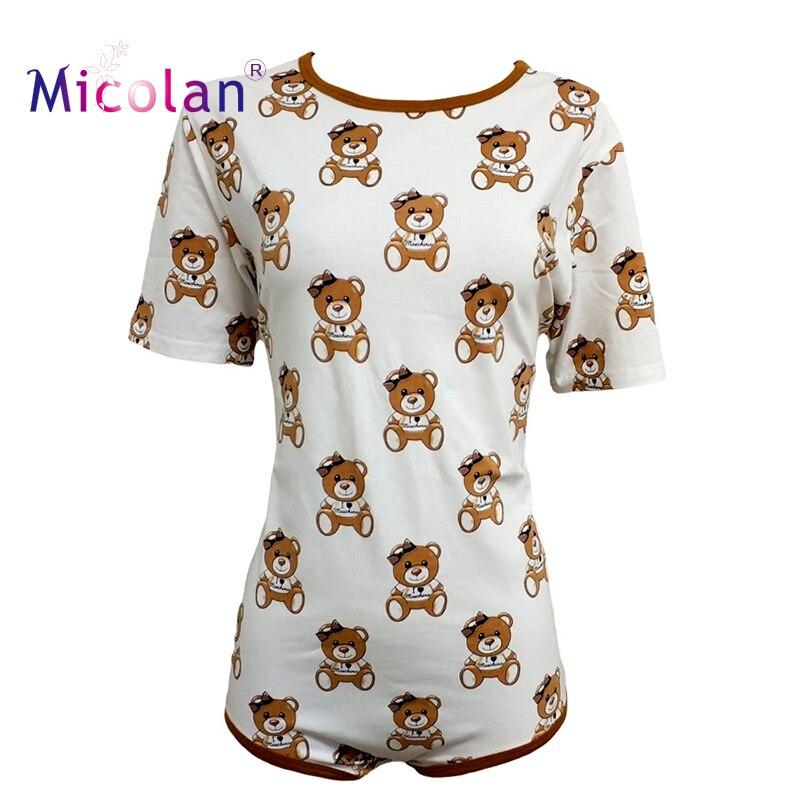 Brown Bear Cotton Adult Onesie Pajamas Abdl Romper ABDL Adult Baby Jumpsuit Diaper Lover And Sissy Adult Baby Onesie