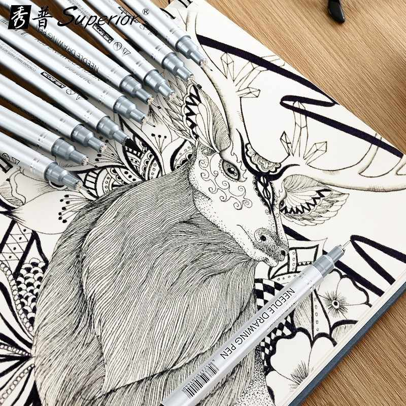 CHENYU 10/PCS เข็มปากกาออกแบบ Sketch สำหรับวาด Pigma ไมครอนแปรง Hook Line ปากกา Art อุปกรณ์
