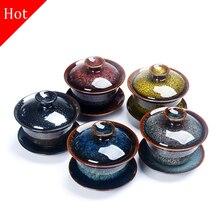 Фарфоровый набор чайных чашек Gaiwan Da Hong Pao Tie GuanYin чайная супница Молочный Улун чайная миска чайник керамика Цзиндэчжэнь красочные Temmoku