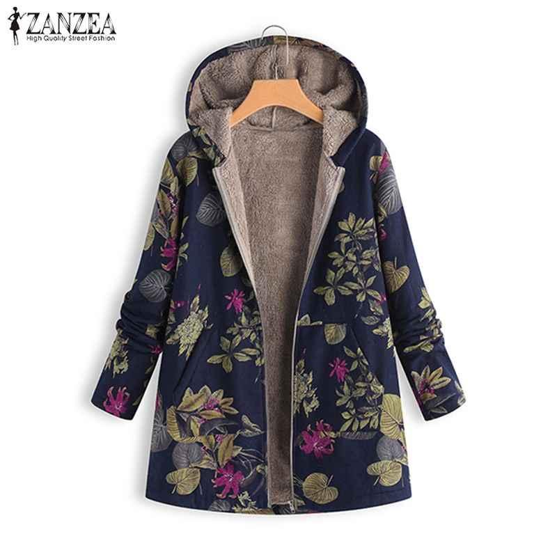 2019 プラスサイズ ZANZEA 冬女性のフード付き長袖ヴィンテージフローラルプリントぬいぐるみふわふわフェイクファーウォームコートジャケットオーバー