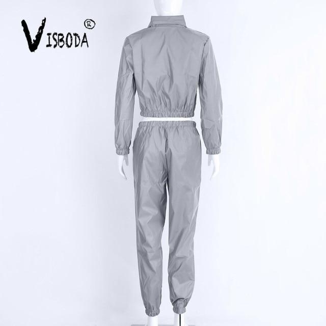 Tracksuit 2 Piece Set Hip Hop Reflective Zipper Jacket Coat Matching Sets 5