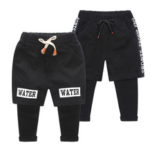 hot deal buy children's clothing 2019 new casual trousers letter boy fake two pants baby pants
