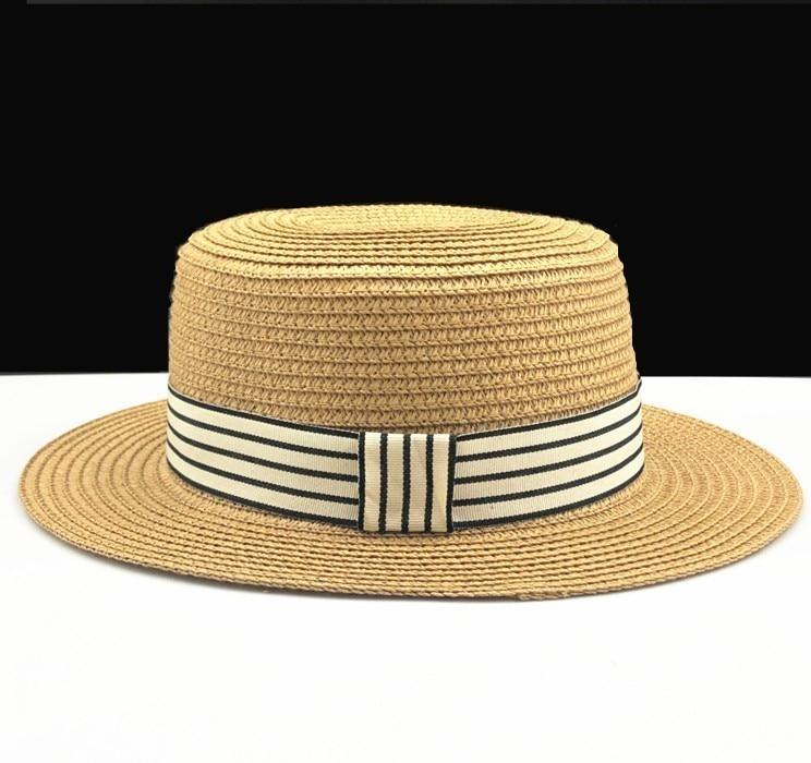 Summer Women Boater Beach Hat Female Casual Panama Hat Lady Brand Classic Bowknot Straw Flat Sun Hat Women Fedora