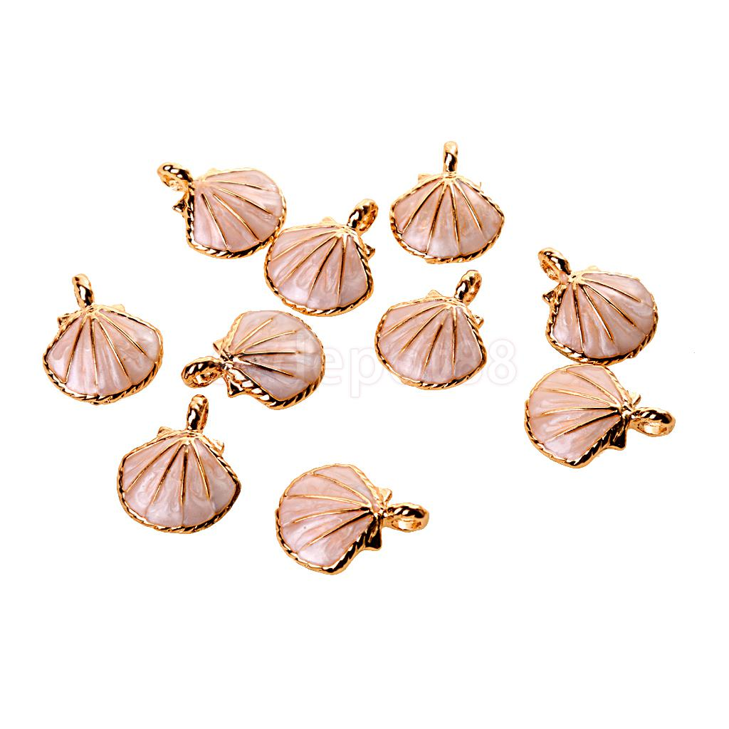 Cute Seashell Charms Pendants Bracelet Fit DIY Jewelry Making for Necklace Bulk Pack of 10Pcs