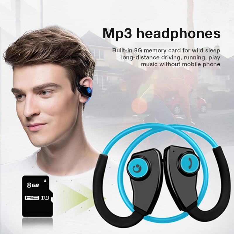 Casque sans fil Bluetooth son stéréo en cours d'exécution Fitness multi-fonction carte intégrée Mp3 FM Radio écouteurs pliables pour téléphone
