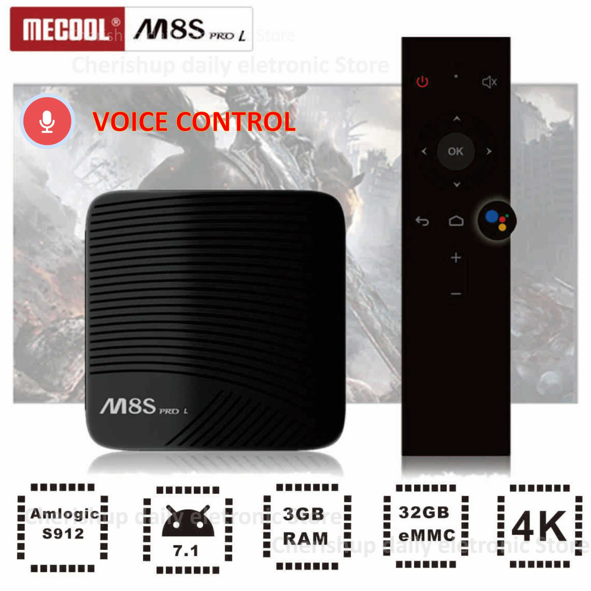 Mecool M8S PRO L Voice Control Smart TV Box Android 7.1 4K Amlogic S912 Octa Core Bluetooth Set-top Box HDMI 3GB 32GB mecool m8s pro l 4k tv box android 7 1 smart tv box 3gb 16gb amlogic s912 cortex a53 cpu bluetooth 4 1 hs with voice control