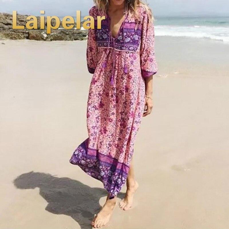 d080b00c Laipelar 2019 verano Tribe estilo V cuello bohemio Floral estampado manga  larga Boho Vestido Mujer ...